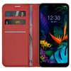 Leather Wallet Case & Card Holder Pouch for LG K50 / Q60 - Red